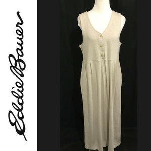Eddie Bauer M Maxi Dress Solid Beige Cotton Knit